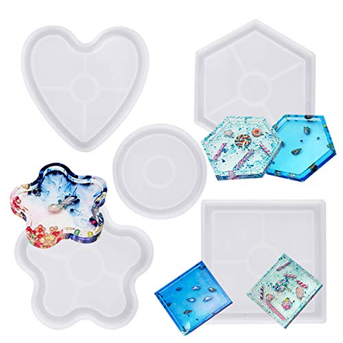 Jinlaili 5PCS Resin Coaster Mould Silicone Making Epoxy Mould  Hexagon Square Round Mold Bottom Bracket Coaster Resin Casting Mold  Condensation Edge Epoxy Resin Mould for Home Decoration Craft DIY