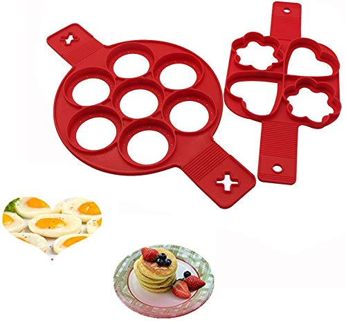 Pancake Molds Ring Reusable Silicone Non Stick Pancake Maker Egg Ring Muffin Pancake Mould Heart (2 Pack)
