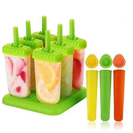 Nubstoer Set of 9 Silicone Ice Lolly Moulds Ice Pop Mould BPA Free Popsicle Tray DIY Ice Cream Tool with Leak Proof Caps