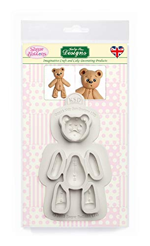 Stitched Teddy Bear Silicone Mould for Cake Decorating  Crafts  Cupcakes  Sugarcraft  Candies  Card Making and Clay  Food Safe Approved  Made in The UK  Sugar Buttons by Kathryn Sturrock