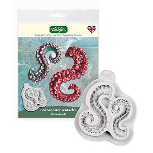 Katy Sue Designs CE0100 Sea Monster Tentacles Silicone Mould for Cake Decorating  Crafts  Cupcakes  Sugarcraft  Cookies  Candies  Cards and Clay  Food Safe Approved  Made in The UK