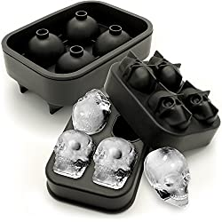iGadgitz Home U6818 Silicone Skull Ice Cube Tray Food Grade Ice Skulls Mould Maker for Cocktail  Whiskey  Liquor & Other Drink - Pack of 2
