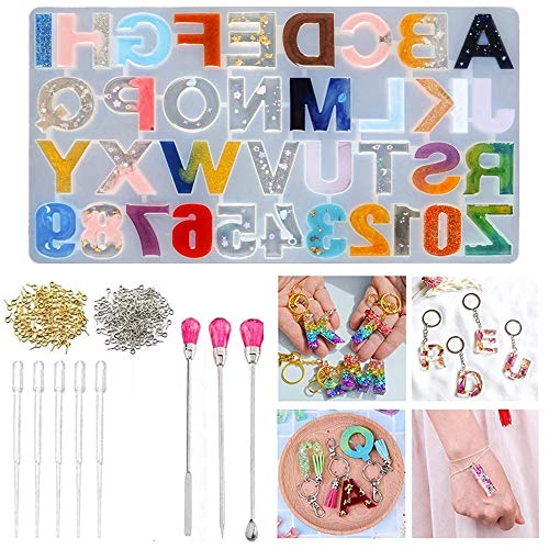 Numbers Letters Alphabet Silicone Casting Resin Mould Jewelry Pendant Making Mold for Wedding Baby Shower Birthday Handmade Craft DIY Pack of 209
