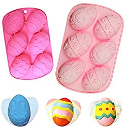 BESTZY 2PCS Easter Egg Mould Silicone Soap Mold Cake Baking Moulds DIY Chocolate Pastry Cake Muffin Ice Cube Soap Biscuit