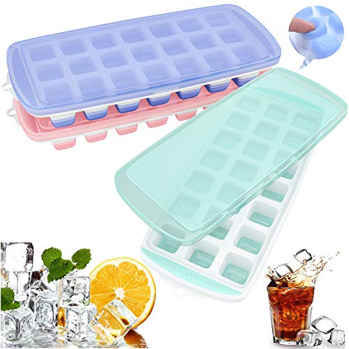 Silicone Ice Cube Trays 3 Pack with Removable lids- Easy-Release and Flexible 21 ice cube mould with Spill-Resistant LFGB Certified & BPA Free  Durable Stackable and Dishwasher Safe
