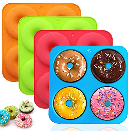 Silicone Donut Mold - WENTS 4 Pack Silicone Cake Molds Silicone Doughnut Mould 4 Cavity Non-Stick Heat Resistant Safe Silicone Donut Baking Pan for Cake Biscuit Bagels Muffins(4 Color)