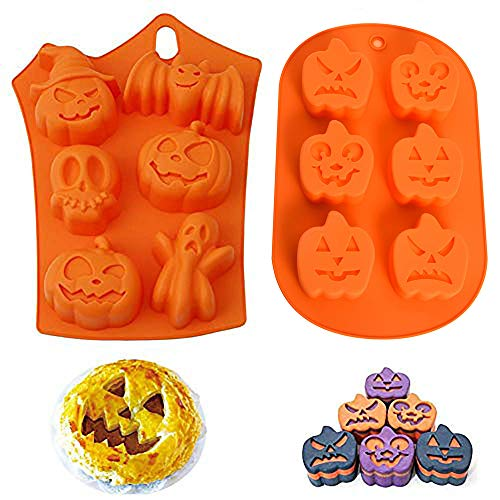 Kungfu Mall 2pcs Halloween Pumpkin Witch Ghost Silicone Chocolate Mould Motif DIY Fondant Candy Mold Ice Tray Cake Decor Icing Sugarcraft Mold Baking Tools