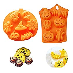 Homo Trends 2Pcs Halloween Pumpkin Chocolate Moulds Witch Ghost Silicone Baking Mould DIY Fondant Candy Mold Ice Tray Cake Decor Icing Sugarcraft Halloween Cake Mold Baking Tools