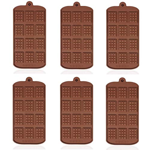 Silicone Chocolate Moulds - WENTS 6 Pcs Non-Stick Chocolate Mold Mini Chocolate bar Mould Brown Ice Cube Tray Candy Chocolate Baking Kitchen Mold