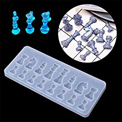 Chess Resin Mould Casting Epoxy Clear Silicone Mold Pendant Crystal Necklace Jewelry Making Moulds for Kids Birthday Halloween Xmas Gift Decoration Handmade Craft DIY