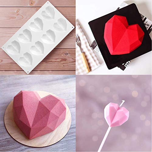 WBTY Silicone Baking Mould 8 Cavity Diamond Heart Mold 3D Silicone Cake Mould Non-Stick Baking Tool