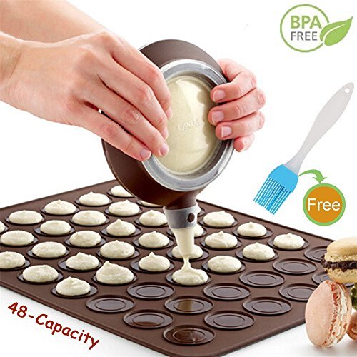 Macaron Baking Mat Set - Macaron Silicone Making Mats Non Stick Cakes Mould Trays Bakeware with 48 Capacity (4 Nozzle +Oil Brush)