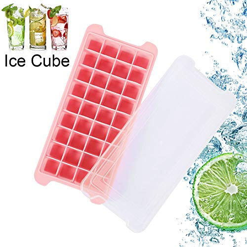 ODOMY Silicone Ice Cube Tray Mould BPA Free Plastic with Lid Home Freezer Maker Kitchen Easy-Release for Whiskey  Cocktail  Cola  Juice etc  Party's Partner (36 Slots  Pink)