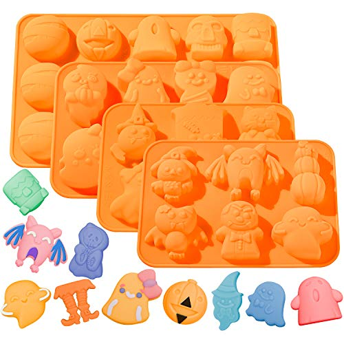 Whaline 4pcs Halloween Silicone Baking Molds  Pumpkin Chocolate Mould Witch Ghost Candy Molds  Bat Ice Cube Trays for Halloween Baking DIY Tools Cake Pudding Pie Soap Muffin
