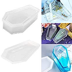 Halloween Vampire Coffin Resin Mould Storage Box with Cover Silicone Moulds Casting Epoxy Clay Craft Molds Crystal Jewelry Making Mold Craft for Halloween Party Decoration DIY
