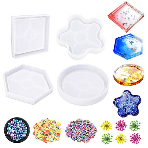 Jatidne 4PCS Epoxy Resin Moulds Coaster Mould for Resin with Dried Flower Beads and Decorations Silicone Coaster Moulds Resin Casting Kit DIY Art Supplies
