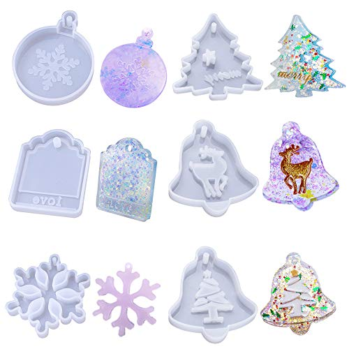 JEMESI Resin Moulds 6 Pack Moulds with Snowflake Silicone Resin Moulds  Christmas Resin Moulds  Elk and Love Resin Mould for Crystal Epoxy Casting Mold Crafts DIY