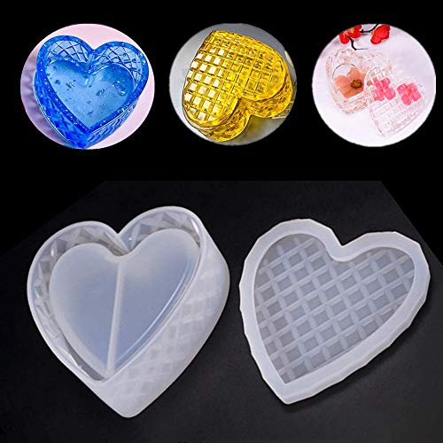 Silicone Epoxy Resin Casting Molds Heart Shape Mould Jewellery Storage Box Mold for Wedding Baby Shower Birthday Christmas Gift Handmade Craft DIY