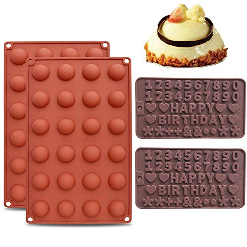 Mengger semi Sphere Silicone Mould 2Pcs Letters Chocolate Mold Making kit Christmas Cake Jelly Dome Mousse Sweet Moulds Candy Molds Ice Trays