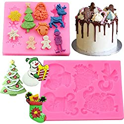 BESLIME Christmas Fondant Mold - Christmas Shape Mold Multifunction Silicone Cake Mould DIY Baking Mould 2pcs