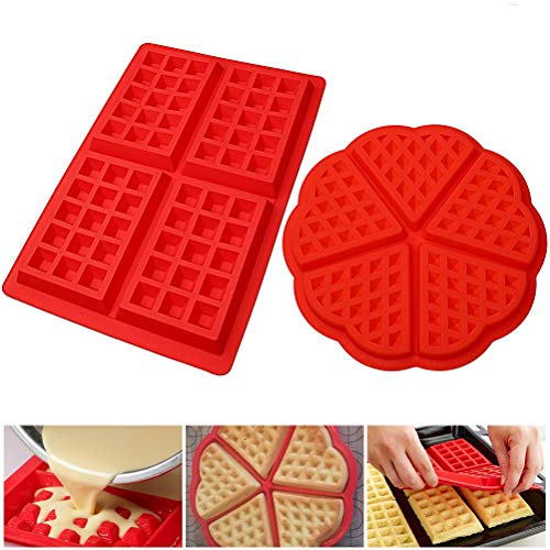 kuou 2 Pack Nonstick waffle makers silicone  Heart Waffle Mold 2 Style Waffle Mould Kitchen Baking Tool