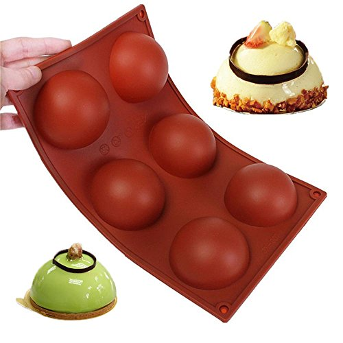 Wady 6 Large Half-Spheres Flat Silicone Non-Slip Heavy Duty Cake Baking Mould