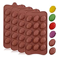 INTVN 4 Pieces Easter Egg Chocolate Mold Easter Candy Cookie Mould Silicone Baking Mold for Party Jelly  Ice Cube Silicone Molds with 15-Cavity for Candy Chocolate Jelly