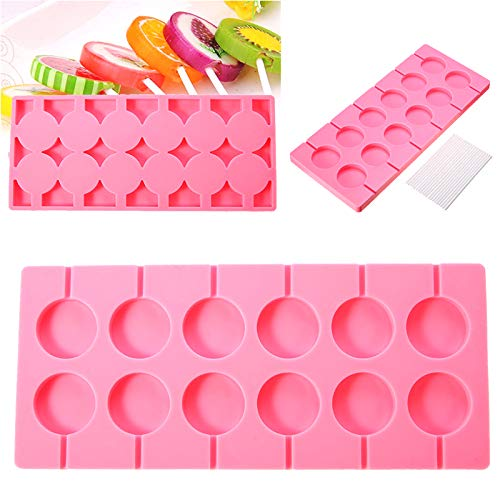 Silicone Lollipop Mould Round Trays Jelly Candy Ice Cube Chocolate Cookies Lollypop Baking Mold + 100 Stick Pink