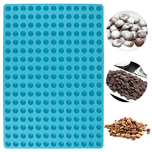 Webake Silicone Baking mat 1.5 cm Hemisphere Baking Mould for Dog Biscuits 221 Dog Treats Puppy Cookies Chocolate Moulds Non Stick Dog Food Mold Cooking Mats(39 x 28.2cm  Blue)