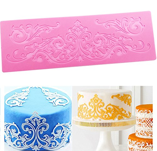 Silicone Lace  KOOTIPS Novelty Giant Lace Silicone Mold Sugarcraft Wedding Cake Decor Tools Impression Gum Pastry Tool Kitchen Tool Sugar Paste Baking Mould Cookie Pastry (Vintage Lace)