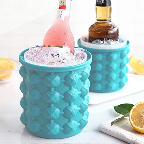 Lezed Ice Cube Maker Silicone Ice Mould Bucket Ice Cube Tray Container Space Saving Food Grade and BPA Free with Removable Lid Ice Cube Molds for Chilled Drinks Cocktail Whiskey House Party Kitchen