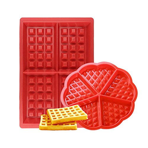 Waffle Mould Silicone Waffle Maker 2 Pack Nonstick Baking Molds Set for Kids Muffins Biscuit Cake Choclate Cookie Kitchen Tools Rectangular and Heart Shaped Red