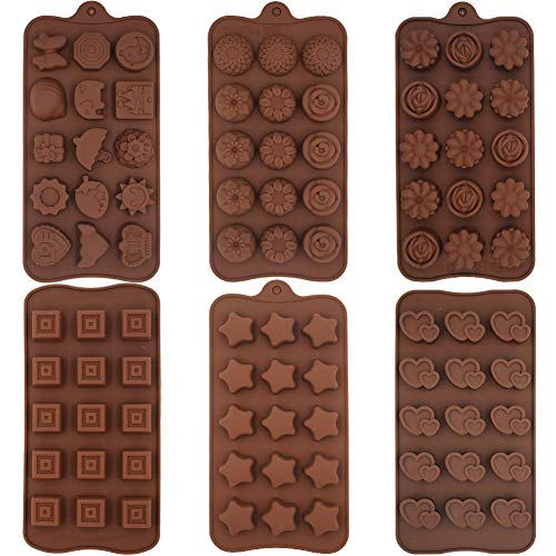 Silicone Chocolate Moulds - WENTS 6PCS Non-Stick BPA Free Silicone Mould Kitchen Baking Cake Mould Jelly Ice Tray for Chocolate Candy Coffee Chocolate Handmade DIY(Brown)