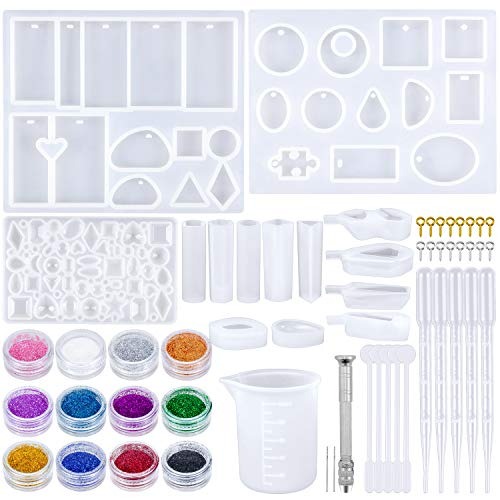 Dreamtop 138 Pieces Silicone Resin Mould Tools Set Including Jewelry Pendant Moulds Eye Screw Pins and Making Tools for DIY Jewelry Craft Making