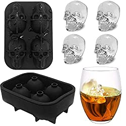 3D Skull Ice Cube Tray  Ice Cube Mould  Silicone Ice Cube Moulds Maker  Ice Cube Tray with Lid for Whiskey  Cocktail  Jelly