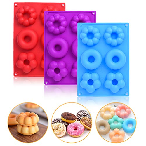 Donut Molds  Uarter Mini Doughnut Mould  Non-Stick Food-Safe Silicone Baking Tray Maker Pan for Biscuit Bagels Muffins Tool - Easy to Pop Out  Pack of 3