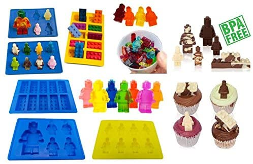 Moldyfun Ice Cube Tray BPA Free Silicone Moulds, 7 Piece Set in Robot Brick Character Shapes, Ideal for Chocolate, Ice Cubes, Sweets, Christmas Baking, Soap & Candle Making