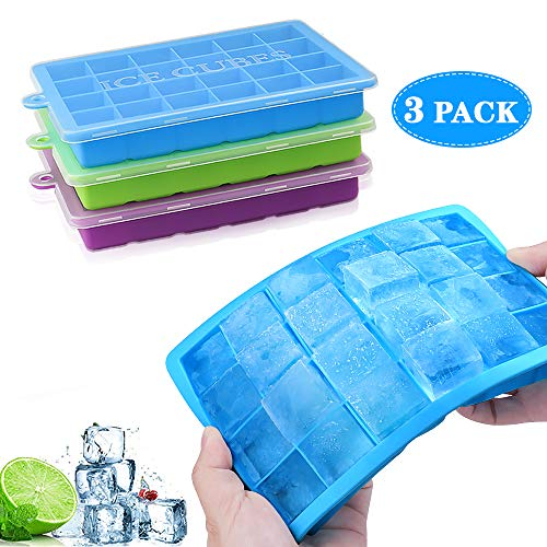 DIAOPROTECT Ice Cube Tray 3 Pack Silicone Ice Cube Trays with Spill-Resistant Removable Lid LFGB Certified and BPA Free Ice Cube Mould for Cocktail  Whiskey  Beverages  Juice