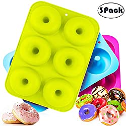 HOUSEGAGA Silicone Donut Moulds 3 Packs Non-Stick Doughnut Silicone Molds Food Grade 6 Cavity Baking Mould Heat Resistance for Doughnut Cake Biscuit Cookies Muffin Baking Tray  Blue&Green&Purple