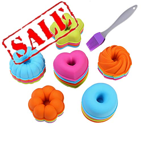 KeepingcooX® 24-Pcs Donut Cake Molds Set | Silicone Fancy Dessert Mould  7.5 cm Small Cake Cups - Pumpkin  Star  Flower  Heart  Savarin Shapes Moulds for Doughnut  Mini Cakes  Cookie  Sushi