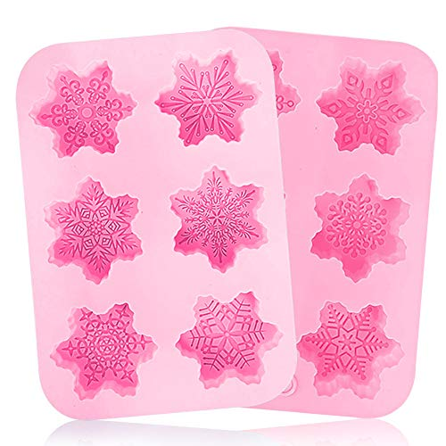 Silicone Snowflakes Moulds BESTZY 2PCS Christmas Snowflakes Silicone Mold Christmas Soap Mould Cake Molds for Jelly Biscuits Soap Chocolate Candy Cupcake Ice Cube Muffin Pan Baking Mould