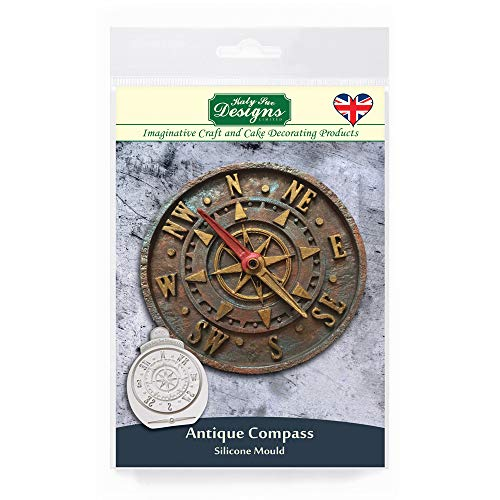Katy Sue Designs Antique Compass Silicone Mould for Cake Decorating  Crafts  Cupcakes  Sugarcraft  Cookies  Candies  Cards and Clay  Food Safe Approved  Made in the UK