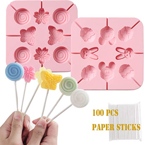 Silicone Cake Moulds  2 PCS Candy Chocolate Fondant Moulds 3D Icing Mould Baking DIY Tool with 100 Paper Sticks