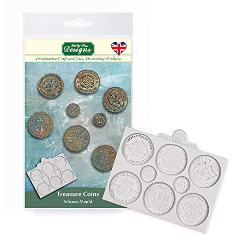 Katy Sue Designs CE0098 Treasure Coins Silicone Mould for Cake Decorating  Crafts  Cupcakes  Sugarcraft  Cookies  Candies  Cards and Clay  Food Safe Approved  Made in The UK  Grey