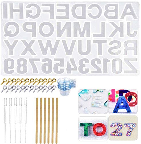 KAHEIGN 232Pcs Resin Mould Kit  Reversed Alphabet Epoxy Resin Molds Letter Number Silicone Resin Mould DIY Casting Resin Mold for Making Keychain House Number
