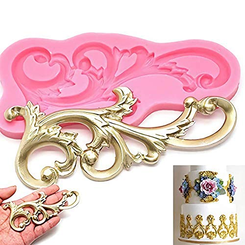 Wedding Vintage Relief Flourish Silicone Cake Mold Sugarcraft Fondant Cake Decorating Tools Chocolate Mould Stencil Palker Cook