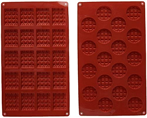 INTVN Silicone Mini Rectangle and Round Waffle Mould  Waffle Cookie Mold  Chocolate Mould  Candy Mould  Silicone Baking Mold  2pcs