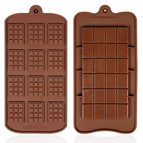 YOYUSH 2 Pcs Silicone Chocolate Moulds Non-Stick Chocolate Mold Mini Chocolate bar Mould  Two Different Styles of Brown Ice Cube Tray Candy Chocolate Baking Kitchen Mold