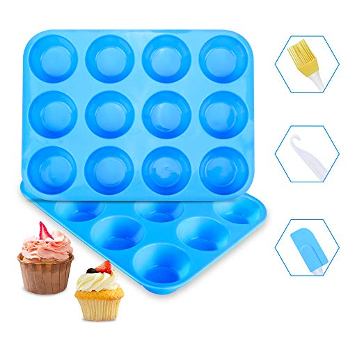 Muffin Trays Ninonly 12 Cups Silicone Muffin Pans and Cupcake Tin  Non-Stick Baking Mould for Muffins or Cupcakes  Brownies  Pudding (Blue)