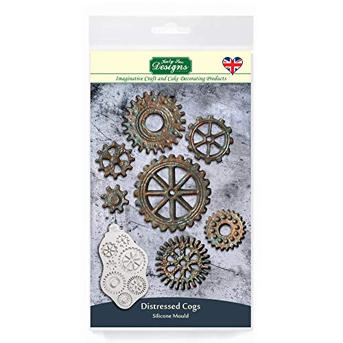Katy Sue Designs CE0093 Distressed Cogs Silicone Mould for Cake Decorating  Crafts  Cupcakes  Sugarcraft  Candies  Chocolates  Card Making and Clays  Food Safe Approved  Made in The UK  Grey
